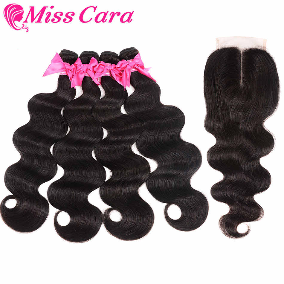 Onda del cuerpo peruano 4 paquetes con cierre 100% paquetes de cabello humano con cierre 4*4 parte media/libre cierre señorita Cara cabello Remy