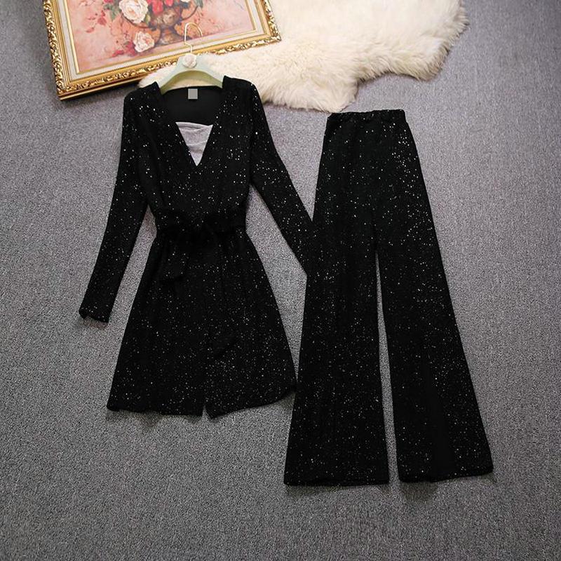 2018 printemps nouveau femelle ensembles femmes brillant soie taille à manches longues cardigan tricot veste + taille split large jambe pantalon + gilet costumes