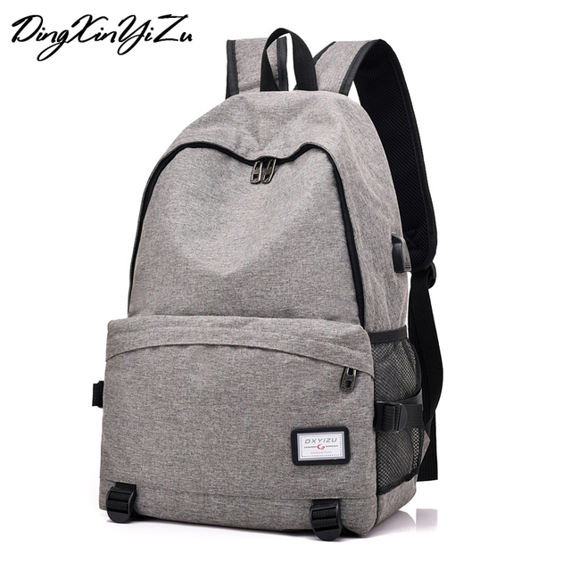 Unisex USB Charging Backpack Casual Oxford