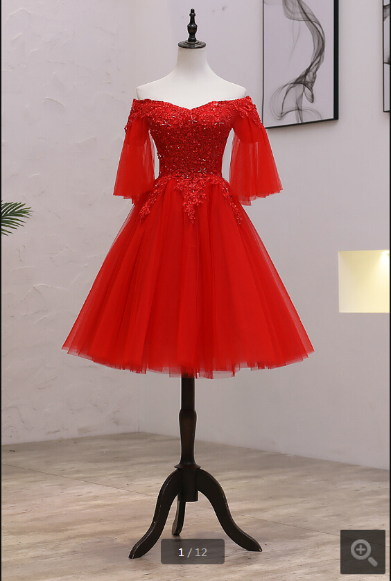 2019 Vestido De Festa red lace appliques short   prom     dress   half sleeve v neck beaded sequins petite girls   prom   gowns best selling