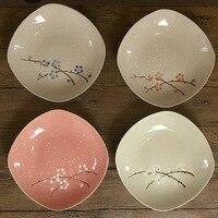 2 unidades Japonés 8 Pulgadas plato De Cerámica/Creativo plato hondo de cerámica/ciruela vajilla de cerámica pintado a Mano