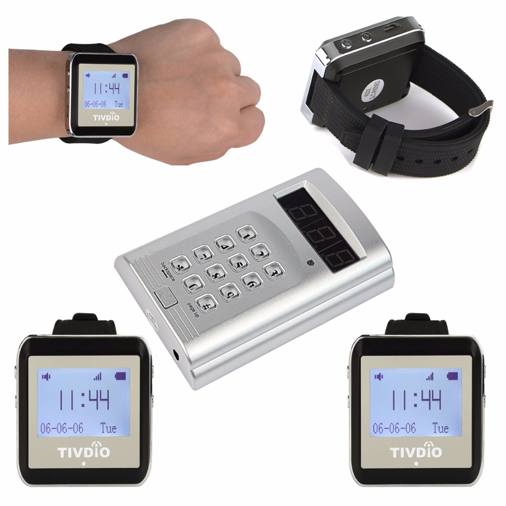 TIVDIO Wireless Calling System Waiter Call Paging System Restaurant Pager 1 Keyboard Transmitter+4 Watch Receiver F9404A