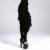 Diablo Gótico Moda Patrón Cinturones Nuevas Señoras de la Marca de Las Mujeres Negro Sólido Cinturón de Borlas Decorativas Con Plumas 2016