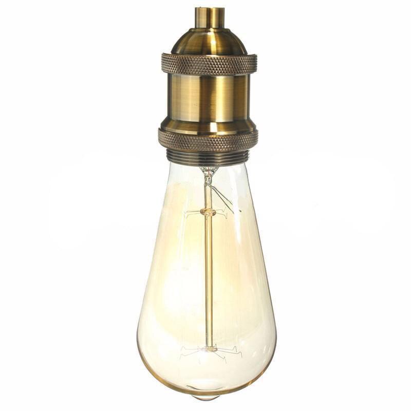 E26/E27 Vintage Aluminium Lamp Holder Screw Thread Edison Keyless Light  Socket Lamp Base Lighting