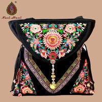 High Quality Ethnic Embroidered Canvas Women Handbag Fashion Vintage Casual Handmade Beaded Pendants Shoulder Bags Travel