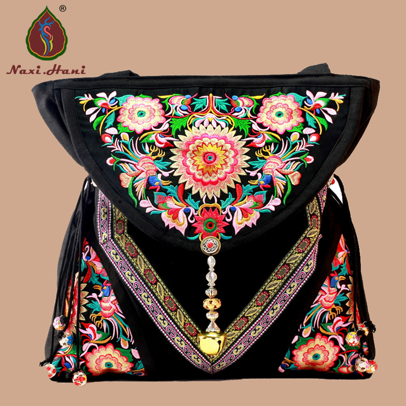 HOT SALES Ethnic embroidered women bags Vintage handmade beaded pendants canvas big shoulder travel bags xiyuan brand luxury and fashion women backpacks vintage handmade embroidered bags ladies embroidery canvas travel bags backpack