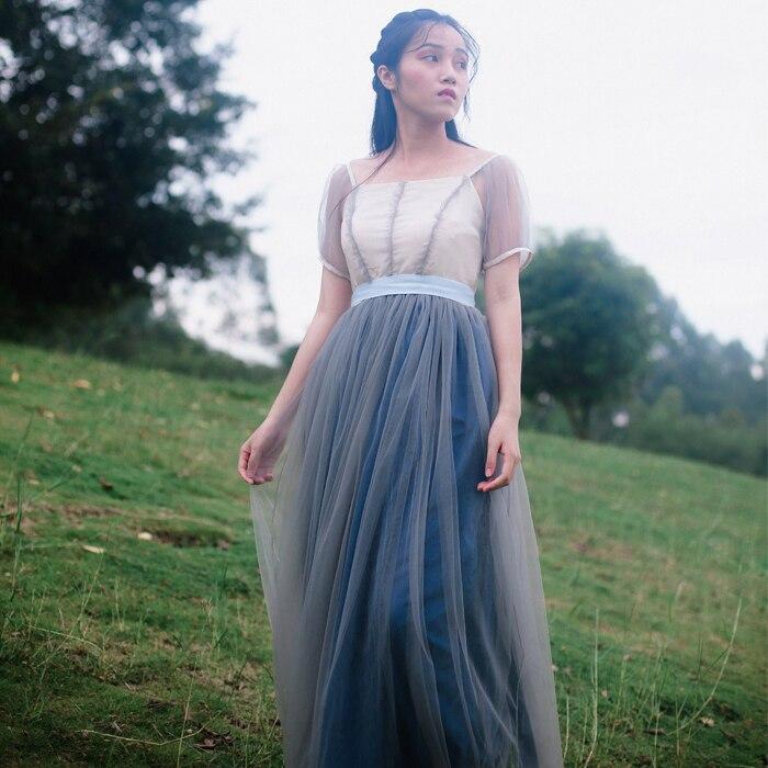 Vintage French mesh princess dress fantasy fairy Mori girl small fresh leisure summer lolita vestidos summer mesh dress