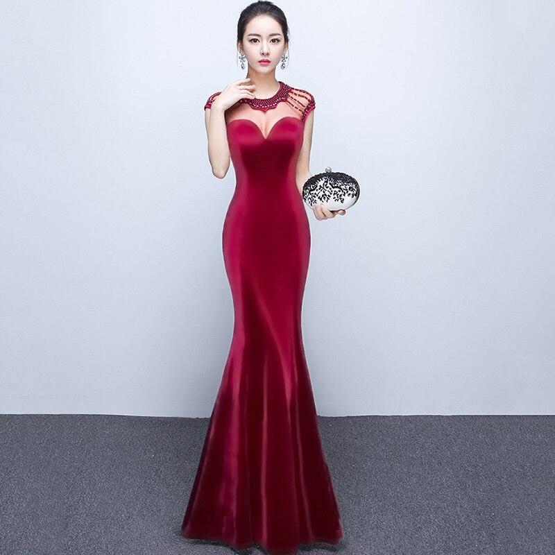 f2863912214 ... vestido de festa · Красный Прозрачная сетка и хлопок бисер О образным  вырезом без рукавов пикантные длинные платья-русалки