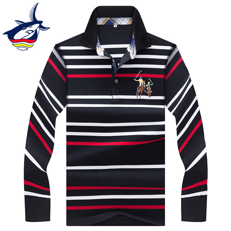 2019 New Long Sleeve   polo   shirt men casual business Striped men   polo   shirt brand high quality cotton camisa   polo   masculina