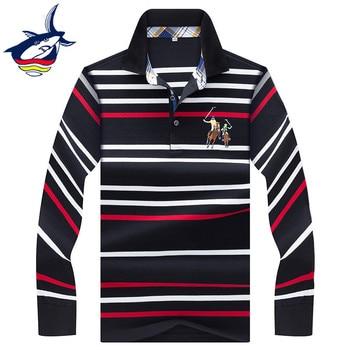 a741449dc6 2019 nuevo manga larga camisa de polo de los hombres de negocios casuales  hombres de rayas camisa de polo de marca