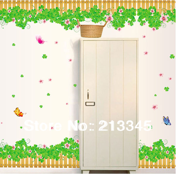 Fundecor clover hroy photograph green stickers wall decor flower butterfly fence baseboard sticker decal 6404 in wall stickers from home garden on
