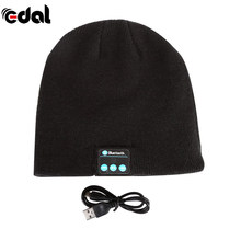 EDAL Unisex Lembut Hangat Beanie Topi Topi Headphone Headset Nirkabel Bluetooth Pintar Speaker Mic dengan 11 Warna(China)