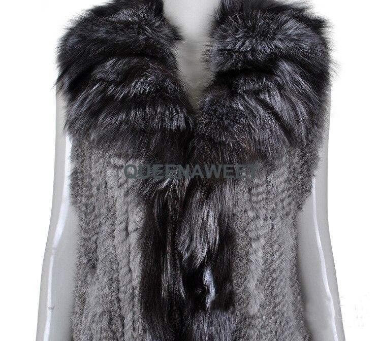 Laveur De Nouveau Collier Raton Lapin Fourrure Tricoté Femmes Réel Mode Gilet Avec qw6wZtzx4