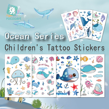 Lovely Cartoon Ocean Series Temporary Tattoo With  Blue Whales Designs For Kids Children Fake Body Waterproof