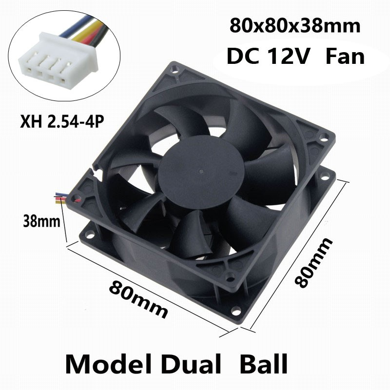 1 Piece Gdstime 8038 Dual Ball 3 inches Big Airflow 4 Pin 8cm DC Brushless Fan 80mm x 38mm PC Cooling Fan 12V 80x80mm delta afb0812sh 8025 8cm 80mm 12v 0 51a dual ball fan power supply chassis cooling fan 4 pin pwm fan