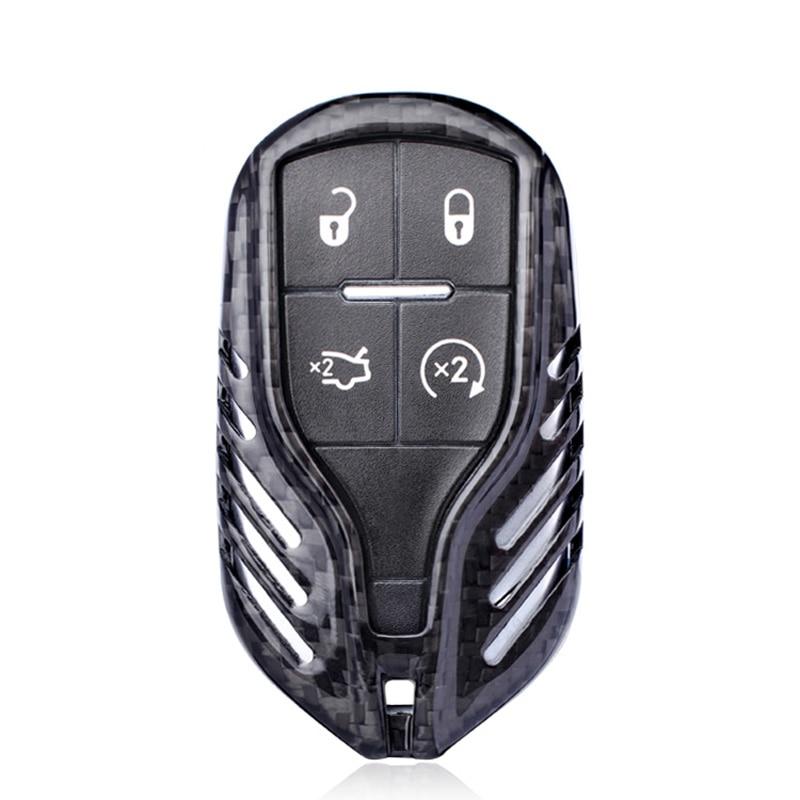 Black Carbon fiber LCD Car Key shell cover For Maserati