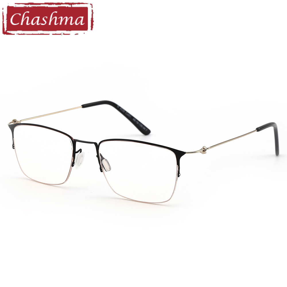 Titanium Alloy Eye Glasses Men Super Quality Light Frame Women Optical Eyeglasses Transparent Half Rim for Prescription Lenses(China)