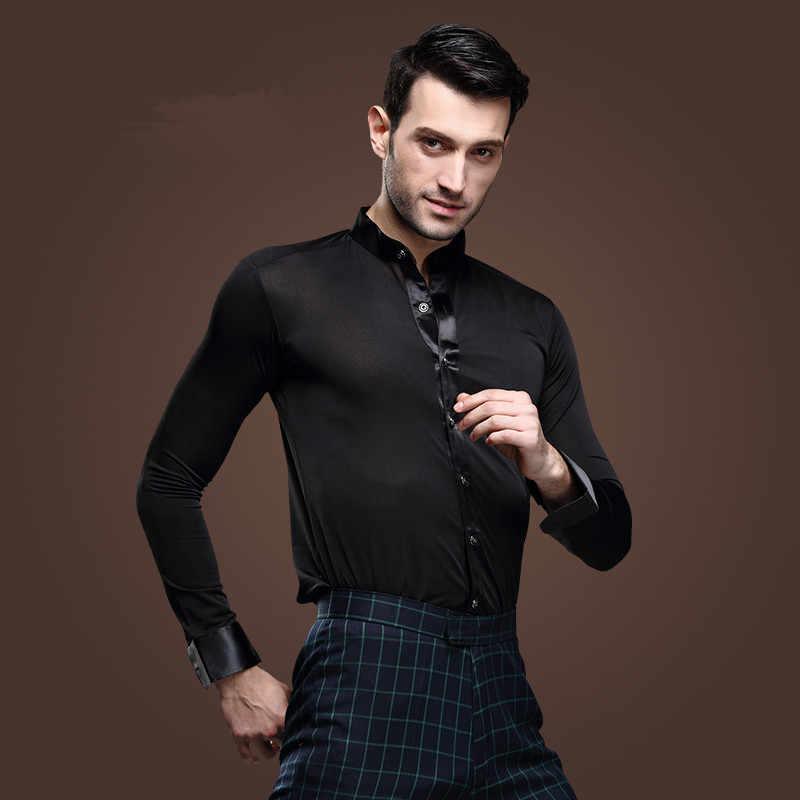 0574d079a Nueva camisa de baile blanca para hombre, competencia, actuación, salón de  baile, Salsa moderna, Tango, Samba latino, camisas para hombres, ropa de ...