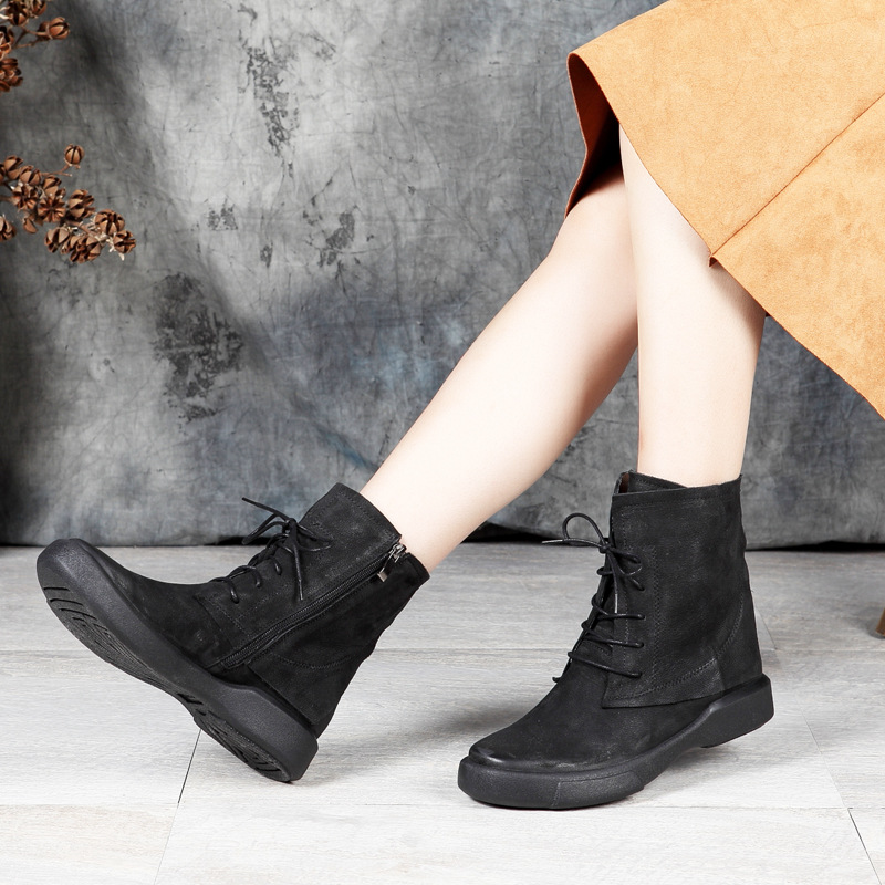 Lace-Up Flat Ankle Boots Women Shoes New Design Female Short Shoes Genuine Leather Lady Low Cut Zipper Booties Plus Size 41 35mm lens c mount f 1 7 lens cctv lens features alloy casing free shipping