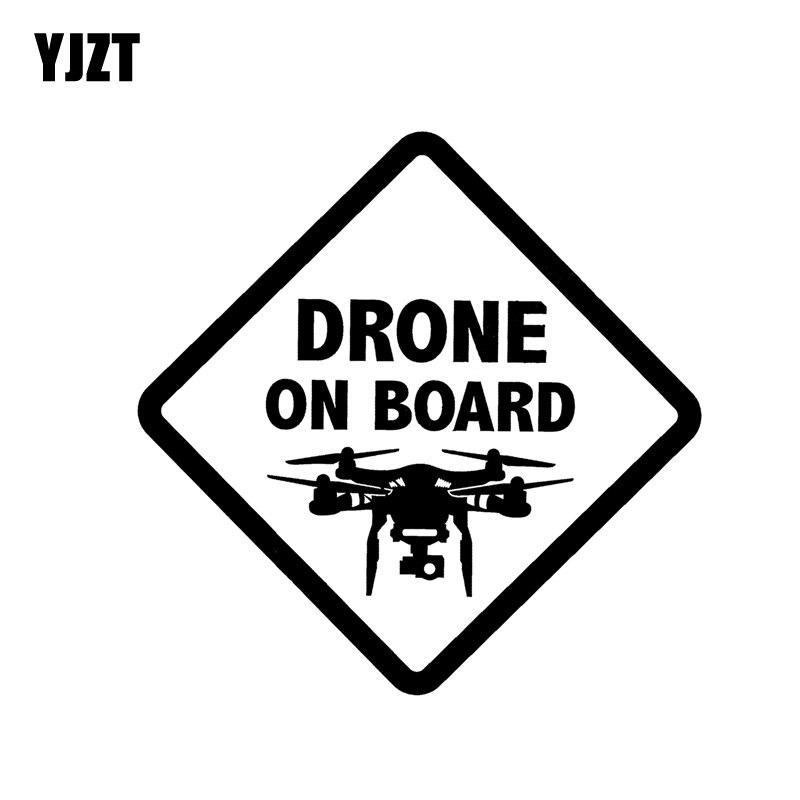 YJZT 14.6CM*14.6CM DRONE ON BOARD UAV Vinyl Decal Car Sticker Black/Silver C3-0156