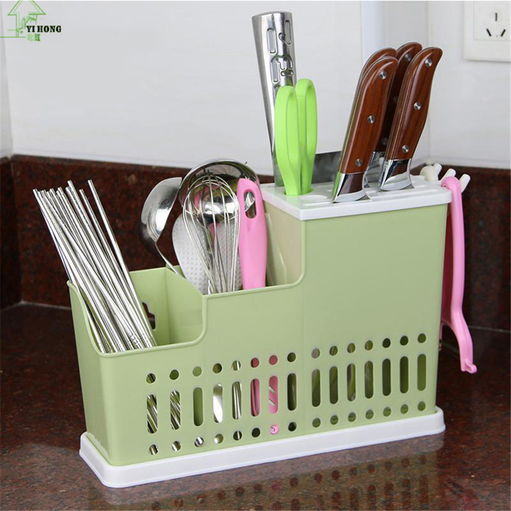 YI HONG Multifunction Knife Holder Plastic Knife Chopsticks Cage Draining Rack Storage Shelf Stand For Knives Holder A1157c