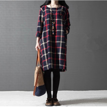 2016 Spring Autumn Nursing Maternity Dresses Plus Size Loose Plaid Long-sleeved Cotton Pregnancy Clothes For Pregnant Women