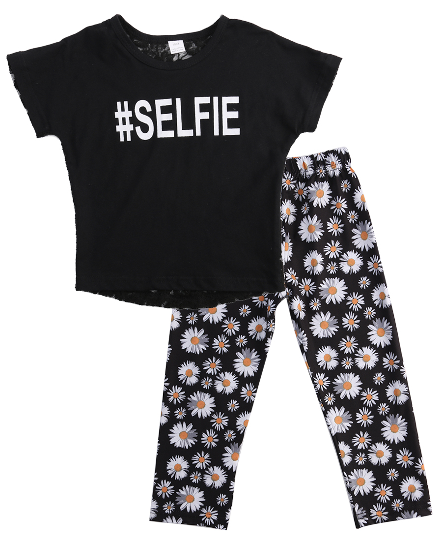2PCS Fashion Girls Kids Summer Casual Set  Lace Short Sleeve O-neck Hollow Tops Daisy Floral Long Pants Outfits Clothes CA