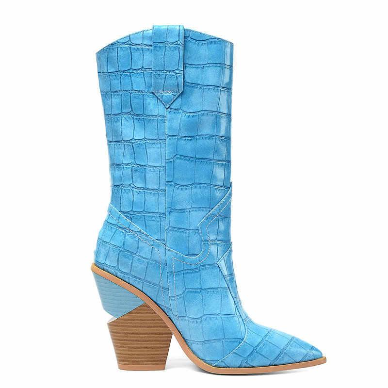 Sarı beyaz Faux deri kovboy orta buzağı çizmeler kadın kama yüksek topuk kısa çizmeler sivri burun tembel batı kovboy kız çizmeler