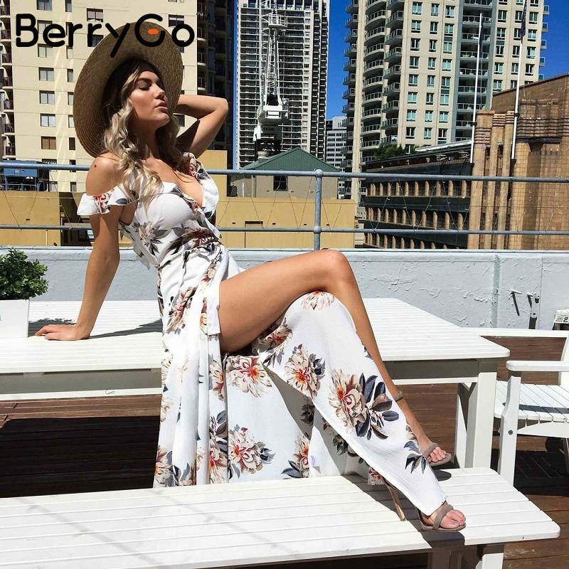 BerryGo Floral print ruffles chiffon maxi dresses Strap v neck split beach summer dress Sexy backless women dress long vestidos 1
