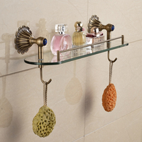 Classical Style Newly Wall Mounted Bathroom Shelf Towel Hook Antique Brass Finished