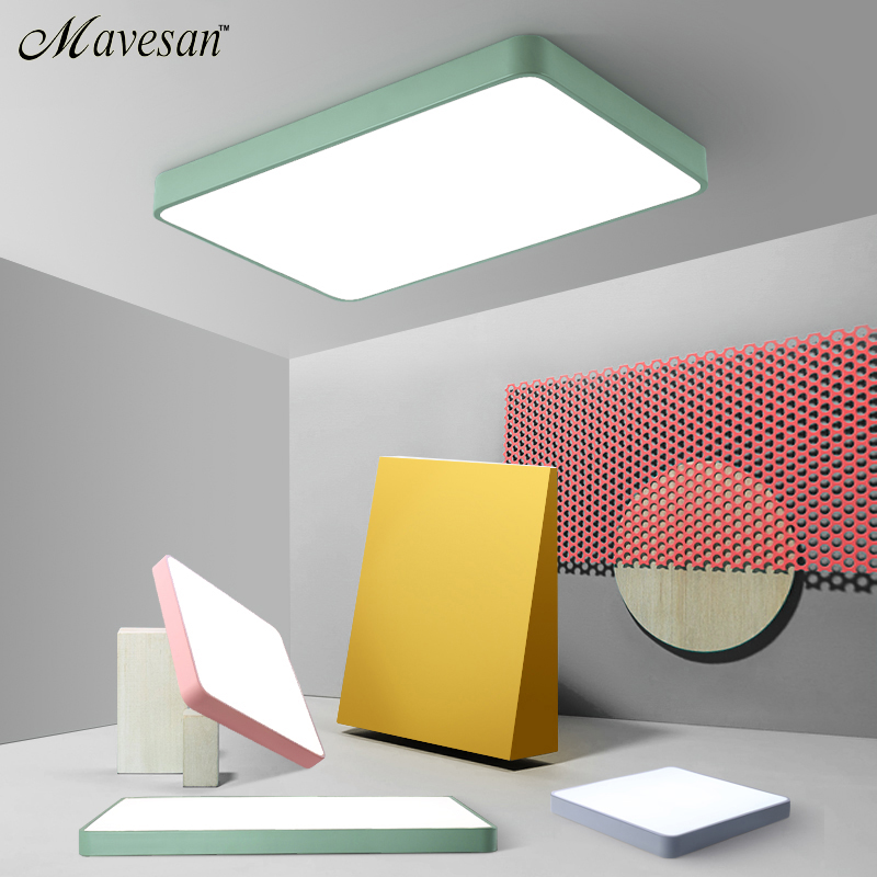 Macaroon Square Ceiling Lights Color For Living Room Bedroom 5cm Height Chandelier Lamp Hallway