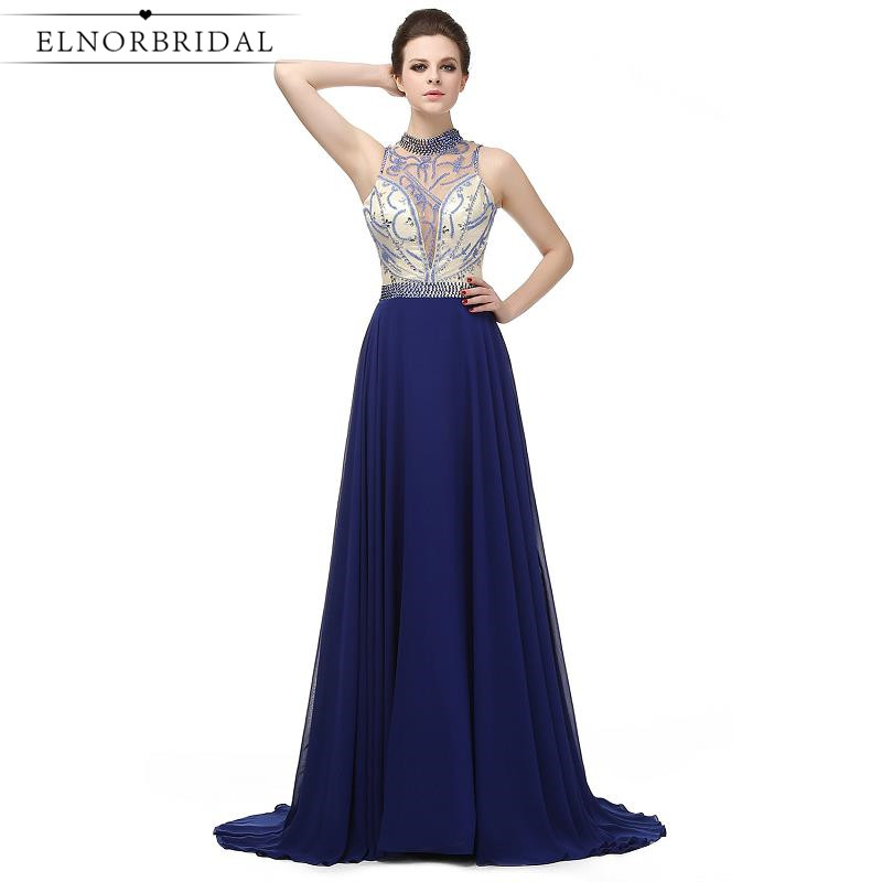 Navy Blue Evening Dresses Long 2017 Sexy Open Back Sheer Beading Chiffon Prom Dress Special Occasion Celebrity Party Gowns