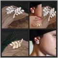 New Fashion 2016 Women's Punk Rock Retro Earring Crystal Leaf Ear Cuff Warp Clip Ear Stud for women ed0161