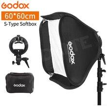 Godox 60x60 cm Softbox Kiti Flaş Difüzör + S video tipi Braketi Bowens Tutucu Canon Nikon Flaş speedlite 60*60 cm Yumuşak kutu