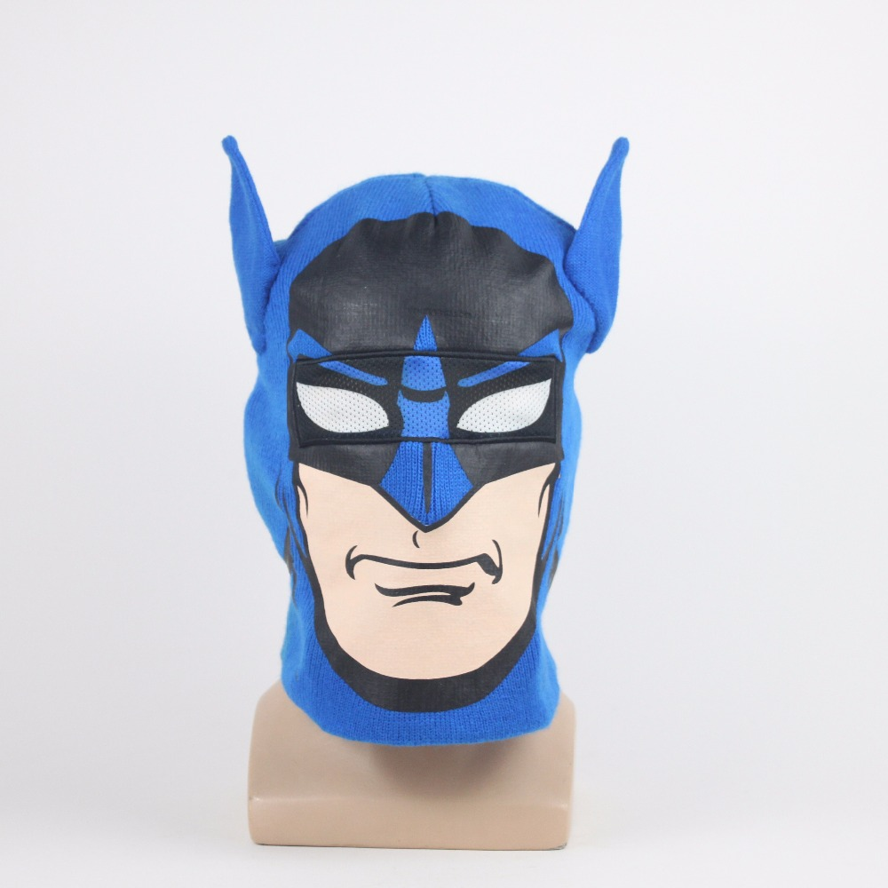 Superhero Batman Hat Mask Cosaplay Full Face Masks knitted Hats Embroidered Beanie Cap Halloween Masquerade Party Props