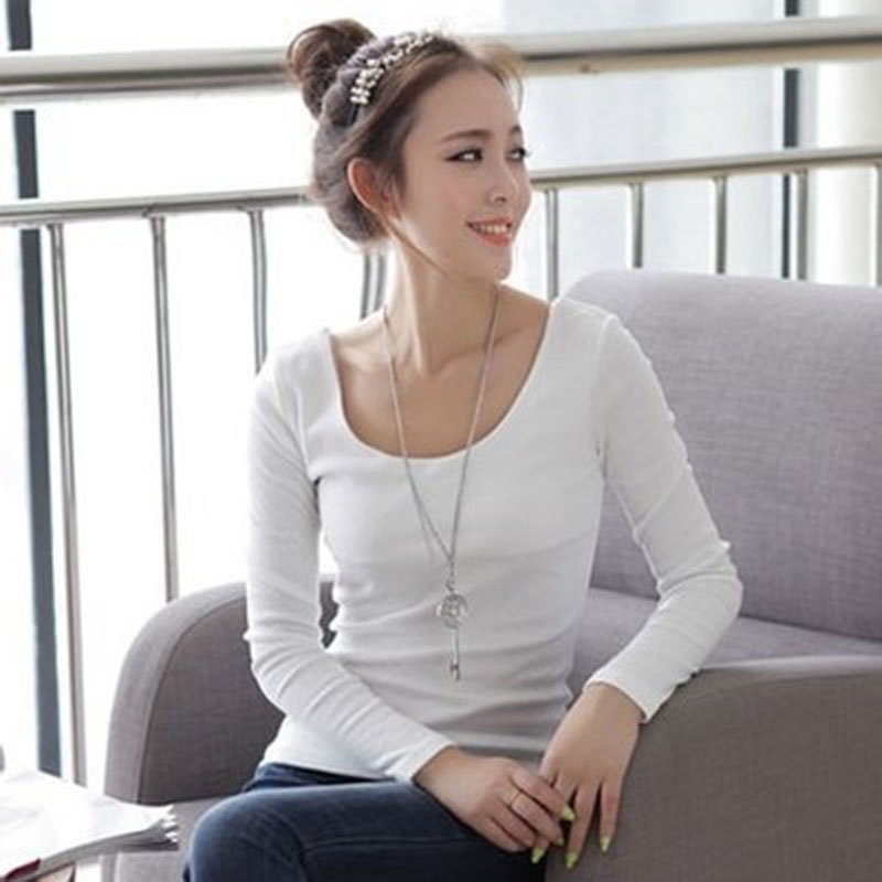 Basic   T     Shirt   Women Long Sleeve Women Tops 2019 Spring Autumn Tee   Shirt   Women Korean Style   T  -  Shirt   Cotton New Plus Size Tee