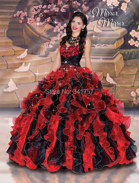 ff28a9d8b7 Negro y rojo De Quinceanera Vestidos Debutante vestido De fiesta Vestidos  De 15 Anos bordado dulce