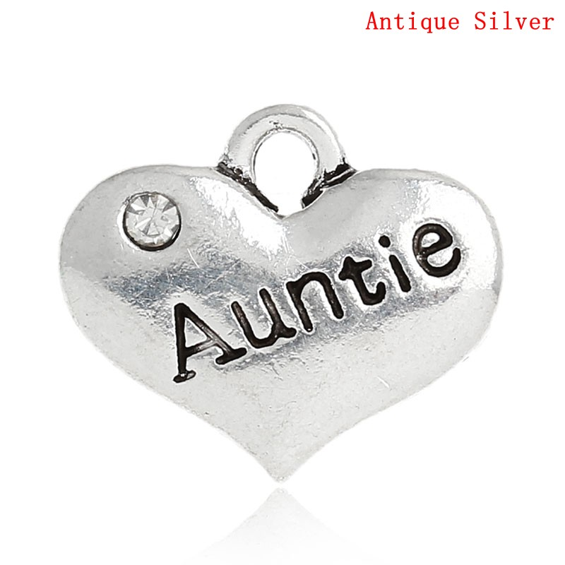 DoreenBeads Zinc Metal Alloy Rhinestone Charm Pendants Heart Antique Silver Message Auntie  Clear Rhinestone 16mmx14mm,2 PCs