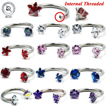 1PC Surgical Steel Zircon Internally Thread Piercing Septo Nose Lip Eyebrow Ear Septum Cartilage Helix Captive Hoop Ring 16g