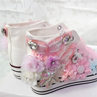 Canvas Shoes Hand Painted Sequins 2017 Spring Ladies Handmade Sewing Casual Shoes Plus Size 40 Fashion