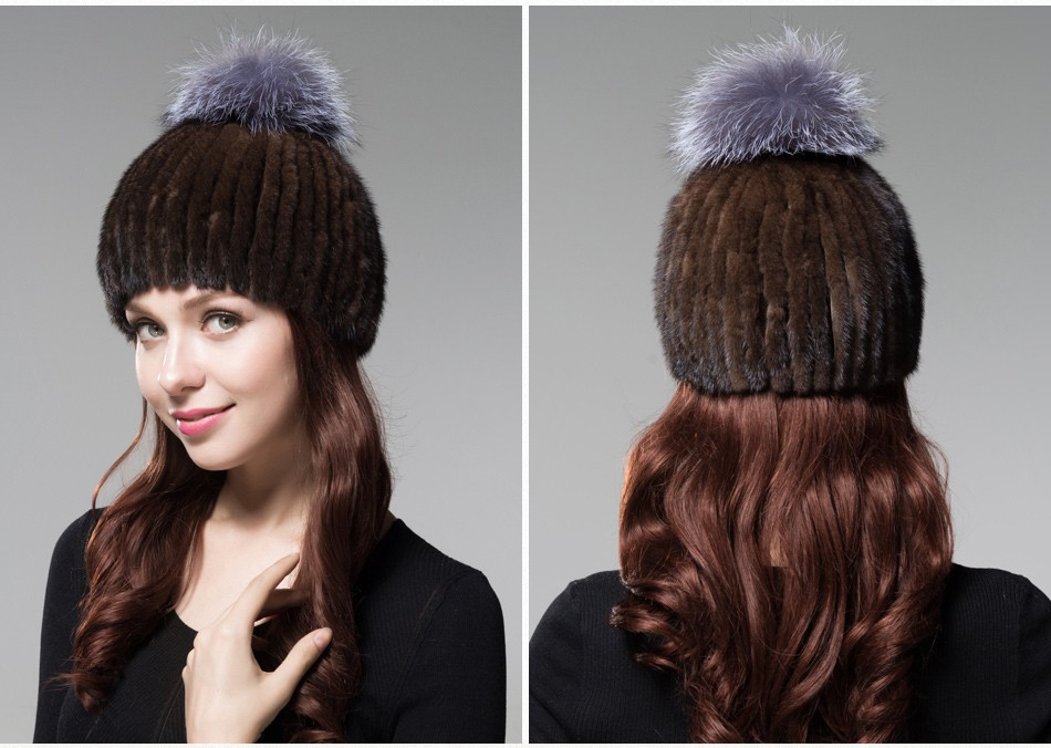 mink fur winter hats for women PCM010 (21)