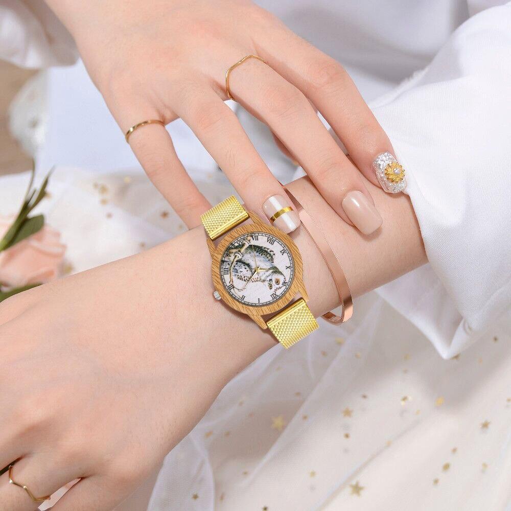 Rose Gold Watch Women Quartz Watches Ladies Top Brand Owl Print Luxury Female Wrist Watch Girl Clock Relogio Feminino