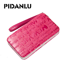 PIDANLU New Style Women's Monogram Pencil Case Leather Wallet Lunch Box Purse Phone Bags Long Wallets For Women Clutch XKQ008