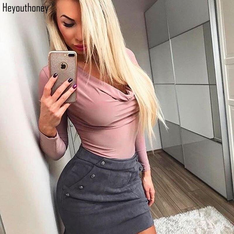 Heyouthoney 2018 spring summer black pink khaki sexy v-neck long sleeve bodysuits women jumpsuit rompers bodycon body feminino