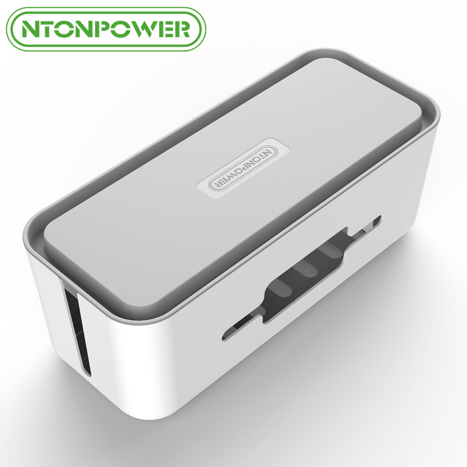 NTONPOWR RMB Hard Plastic Desk Organizer Cable Winder Container Case Power Strip Storage Box and Dustproof Cover for Home Safety
