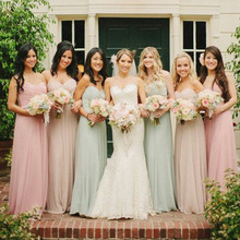 Sweetheart A Line Long Bridesmaid Dresses 2016 Formal Chiffon Prom Party Dress Gown vestidos para festa H510