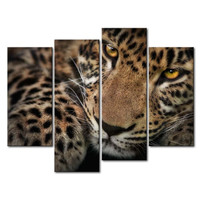 Leopard 4 Panels Wall Art Canvas Paintings Wall Decorations For Living Room Home Office Artwork Giclee