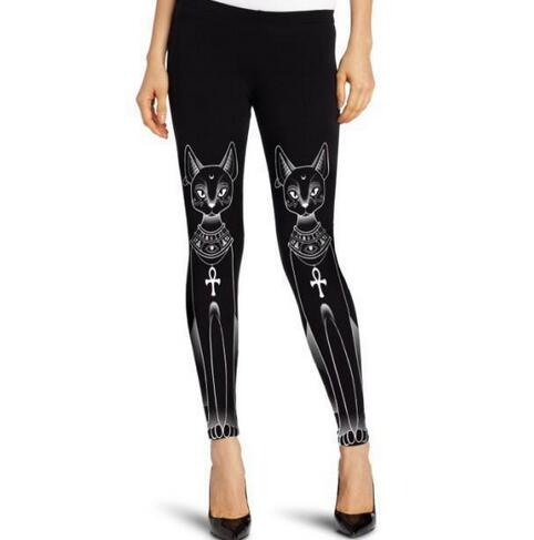 c4fc897de85b08 50pcs/lot fedex fast free shipping hip hop style Women's cute Black white  cat cow peacock Digital Printing Elasticity legging