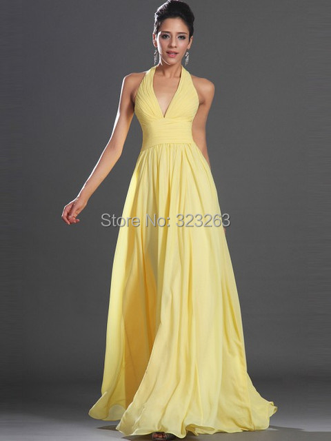 0be366013f6 Elegant Long Bridesmaid Dress Yellow Halter Top Maid of Honor Gowns Chiffon  Open Back for Wedding