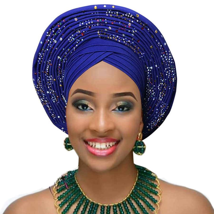 Woman auto gele african headtie wedding headwraps already made turban aso oke gele (10)